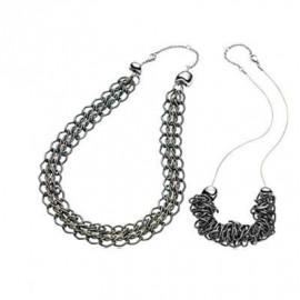 BREIL JEWELS - ROCKMANTIC Collection - Collana 2:1 Acciaio / Necklace 21:1 45cm.