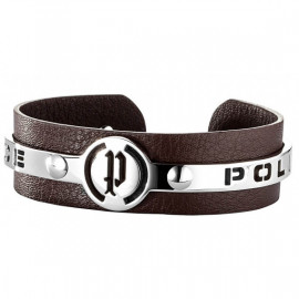POLICE JEWELS Mod. JUSTICE Bracciale pelle marrone con SS logo Police/Brown leather bracelet with SS Police logo