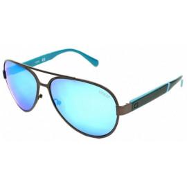 GUESS SUNGLASSES Color: MATTE GUNMETAL Lens: BLUE MIRROR