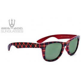 SEA-GOD SUNGLASSES Mod. SCOTTISH1 Rosso&Tartan/Red&Tartan - Lente polarizzata verde/green polarized lences-100&% UV protection -