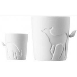 CUTE - Tazza Caffè Americano Large / Coffee Mug Large- Mod. CERBIATTO / DEER - Porcellana bianca di alta qualità / First quali