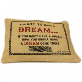 CUSCINI LETTERARI - Copricuscino in Juta lavata / Juta washed pillow case DREAM - Size 38x25cm