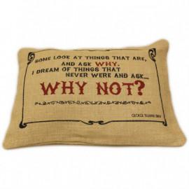 CUSCINI LETTERARI - Copricuscino in Juta lavata / Juta washed pillow case WHY NOT - Size 38x25cm