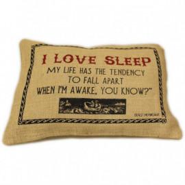 CUSCINI LETTERARI - Copricuscino in Juta lavata / Juta washed pillow case LOVE SLEEP - Size 38x25cm
