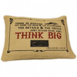 CUSCINI LETTERARI - Copricuscino in Juta lavata / Juta washed pillow case THINK BIG - Size 38x25cm