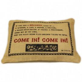 CUSCINI LETTERARI - Copricuscino in Juta lavata / Juta washed pillow case COME IN! - Size 38x25cm